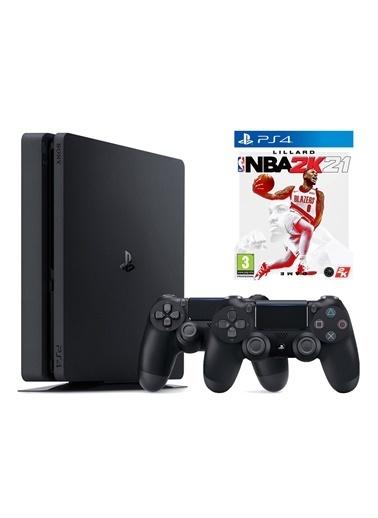 Sony PS4 Slim 1 Tb Oyun Konsolu + 2. PS4 Kol + PS4 NBA 2K21 Siyah